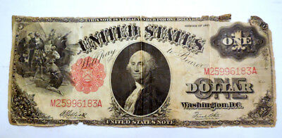 1917 $1 One Dollar Bill-Red Seal- United States Large Legal Tender Currency Note