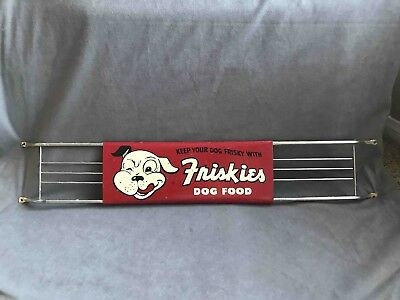 Vintage Friskies Dog Food Adjustable Wire End Advertising Store Door Push Sign
