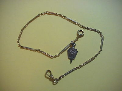 Antique GOLD FILLED POCKET WATCH CHAIN w Penna Chiropractic College STERLING FOB