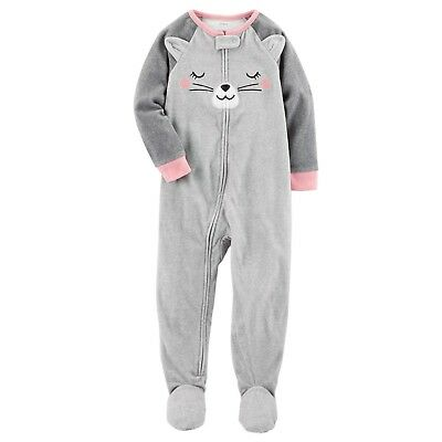 Carters 3T Toddler Girl 1-Piece Kitty Cat Fleece Footed PJs Winter Pajamas NWT