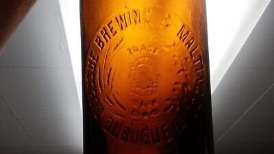 """huge 14"""" tall blob top antique beer bottle Dubuque Brewing and Malting Iowa 1890"""