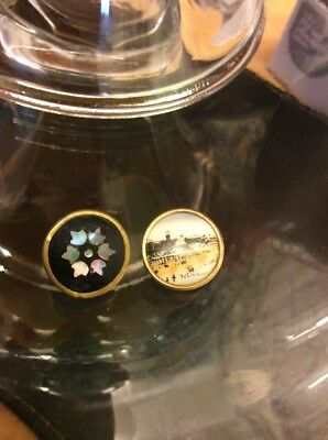 2 Victorian Antique Picture Buttons Pietra Dura & Cleethorpes W@W