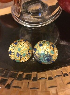 Set Of 2 Huge Vintage Gold Floral Japanese Style Buttons  W@W