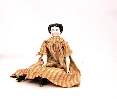 Vintage Porcelain Doll Antique Dress Slip Black Hair Doll