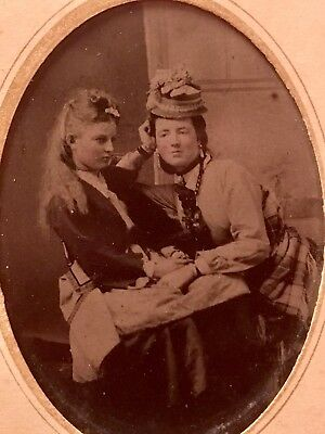 Antique Tintype 1800s Gay Interest Lesbian Photo Named & Dated Secret Love