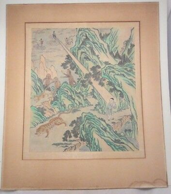 Antique Chinese Quan Yin with Tiger & Goblins Painting