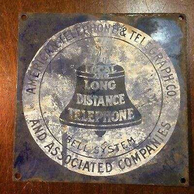 "Vintage BELL SYSTEM Public Telephone Telegraph Porcelain Enamel Sign 8"" DAMAGED"