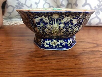 Antique Chinese Ta Ching Ch'ien Lung Hexagon Bowl