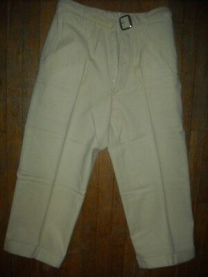 Vtg 40S Kids Boys 10 12 27 Button Fly Wool White Buckle Back Cinch Dress Pants