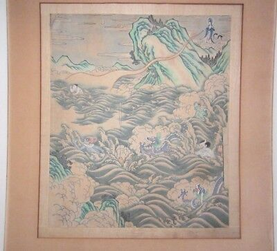 Antique Chinese Quan Yin with Dragons & Sea Demons Painting