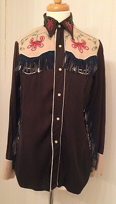 Vintage 1950's western shirt, fringe, snap buttons, H bar C  As Is