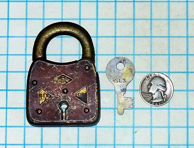 Vtg Antique Old Ornate G&J Products SIX 6 LEVER Padlock Lock and with # SL3 Key