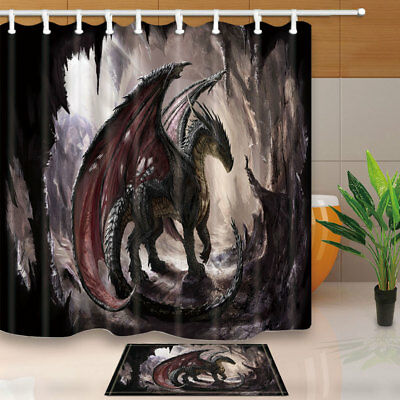 Dragon and cave Shower Curtain Bathroom Waterproof Fabric & 12hooks 71*71inches