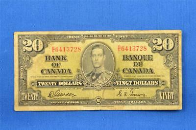 1937 Canadian $20 Twenty Dollar Bank Of Canada Bill. B/e 6413728. Ungraded