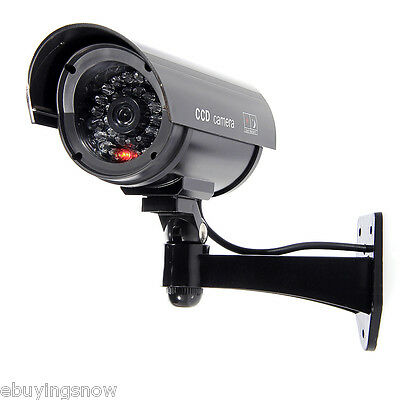 Fake Dummy Security CCTV Camera Waterproof LED Black Surveillance Decoy Camera