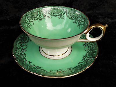 Royal Bayreuth China, Black Lace on Green, Cup and Saucer, Bavaria, Germany