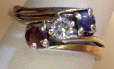 10KT Solid WHITE GOLD BAND Genuine Diamond Ruby Sapphire Ring 2.386 Grams Sz.7