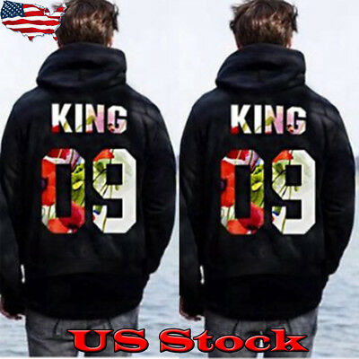 US King and Queen Couple Matching Hoodies Printing Pullover Fashion Sweatshirts