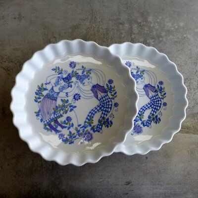 2 Vintage Figgjo Lotte Norway Quiche Dishes A Turi Design vitrified porcelain