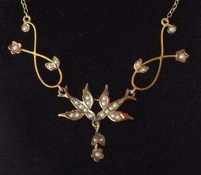 Lovely Vintage 14K VICTORIAN Seed Pearl LAVALIERE NECKLACE Birds & Flowers
