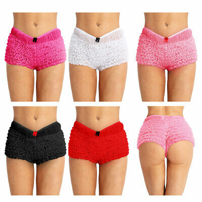 Women Sissy Lace French Maid Ruffled Frilly Underwear Knickers Panties Bloomers