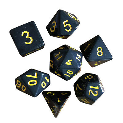 7pcs Multi-sided Game Dungeons & Dragons Polyhedral Dice Set Nickel Yellow