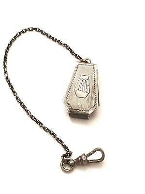 Antique Sterling Silver 925 Pocket Watch Chain Fob and Clip Vintage Art Deco