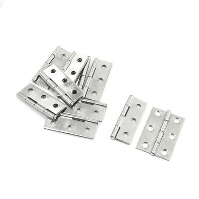 "10 Pcs Home Furniture Hardware Door Hinge 2.2"" Length Silver N8A9"