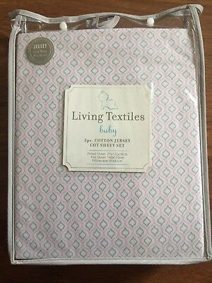 BRAND NEW 100% Cotton Living Textiles Baby Pink & Grey Jersey Cot Sheet Set