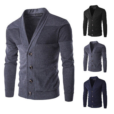 Gentle Mens Slim Fit V Neck Knitwear Pullover Cardigan Sweater Jacket Coat Tops