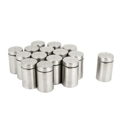 15 Pcs 19mm x 30mm Wall Mount Hardware Glass Standoff Nail Silver Tone Q7O9