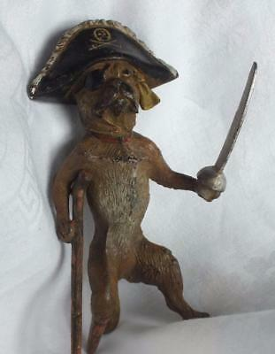 Vintage BARCLAY Cast Iron Peg Leg Pirate BOXER Dog Figurine