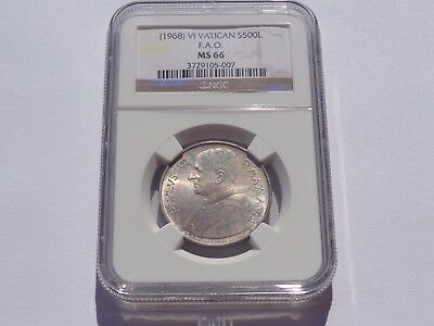 1968 Vi Vatican Paul Vi Silver 500 Lire Km# 107 Ngc Ms-66 Super Nice! Must See!
