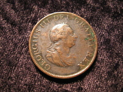 1 old world coin lot GREAT BRITAIN half 1/2 penny KM647 1799 King George III