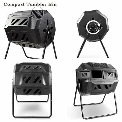 160L Compost Turner Tumbler Bin Lawn Outdoor Backyard Tumbling Composting Bin