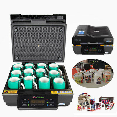 110v 3D Sublimation Heat Press Machine w/Gloves For Phone Mugs Plate Cups Cases