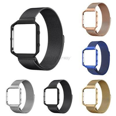 Stainless Steel Mesh Strap Band For Fit bit Blaze Metal Frame Wrist Watch AU