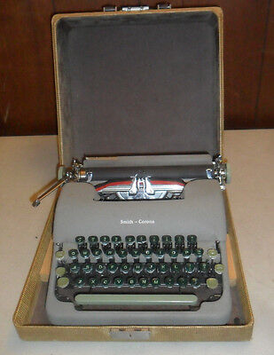 Vintage LC Smith Corona Typewriter w/ Case & Green Keys w/ Shift