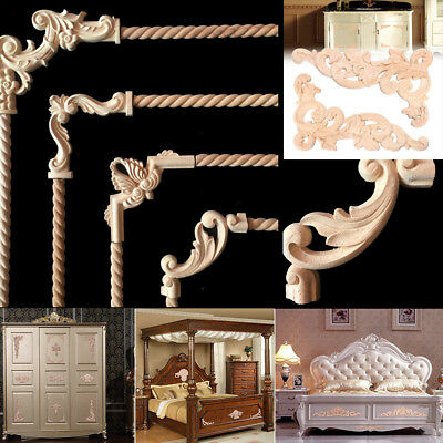 4 Types Wood Carved Flower Onlay Applique Frame Unpainted Furniture Craft Decor