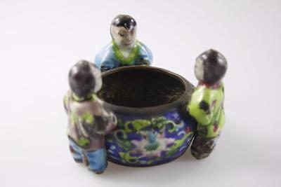 VINTAGE EARLY 20th Century CHINESE CLOISONNE BRUSH POT CHILD FIGURAL