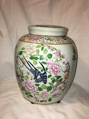 Asian Antique Chinese Famille Rose Lidded Jar Porcelain Pottery