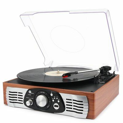USB Turntable 3 Speed Record Player Vinyl to MP3 Converter Stereo Speakers