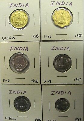 Lot of 6 INDIA Republic coins-1 Paisa, 2,3,5,10,20 Paise 1966-1968 UNCIRCULATED