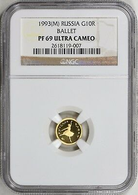 Russia 1993(M) Gold 10 Roubles Ballet NGC Proof-69 UC