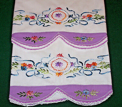 GORGEOUS VINTAGE SILK EMBROIDERED PILLOWCASES, STUNNING FLORAL THEME, c1930