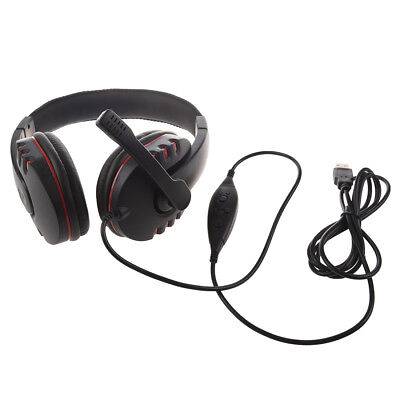 PC-914 Earphones USB2.0 Microphone for PS3 Video Game (black and red) W3U1