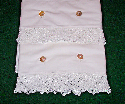 Outstanding Pair Victorian Pillowcases, Irish Lace Trim, Button Closure, El Mono