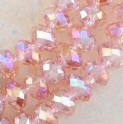 B UK  New Faceted Crystal Beads Rondelle Jewelry Crafts Glass Bicone AB Pink 8MM