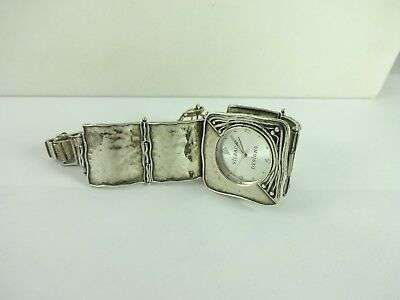 Sterling Silver Silpada Hammered Square Link Watch Working T1372  EUC