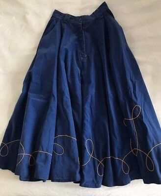 RARE Vintage Stuart Membery Blue Cotton Corduroy Circle Skirt with Chain Stitch